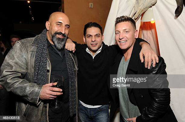 Marco Khan Peyman Moaadi and Lane Garrison attends the Camp XRay after party hosted by The Snow Lodge x Eveleigh on January 17 2014 in Park City Utah