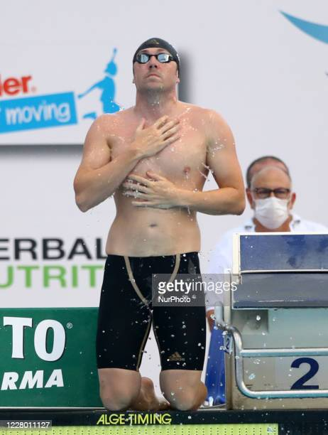 Marco Koch competes in the men's 100m breaststroke during the international swimming trophy Frecciarossa Settecolli in Rome Italy on August 12 2020
