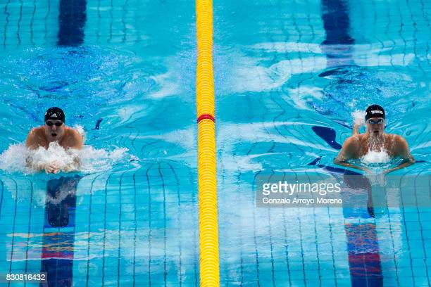 Marco Koch from Germany and Anton Chupkov from Russia competes during the Men's 200m Breaststroke Final of the FINA/airweave Swimming World Cup...