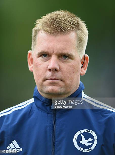 Marco Krausz head coach of Paloma looks on during the DFB Pokal first round match between USC Paloma and 1899 Hoffenheim on August 17 2014 in Hamburg...