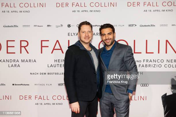 Marco Kreuzpaintner and Elyas M'Barek during the Der Fall Collini premiere at Astor Filmlounge Hafen City on April 13 2019 in Hamburg Germany