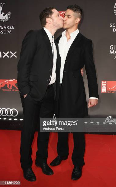 Marco Kreuzpaintner and his partner Gilardi arrive for the 'new faces award' 2011 at the bcc on April 7 2011 in Berlin Germany