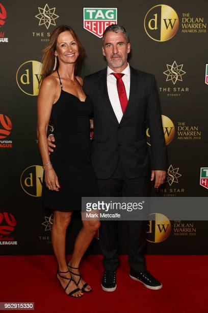 Marco Kurz and Tammy Serr arrive ahead of the FFA Dolan Warren Awards at The Star on April 30 2018 in Sydney Australia