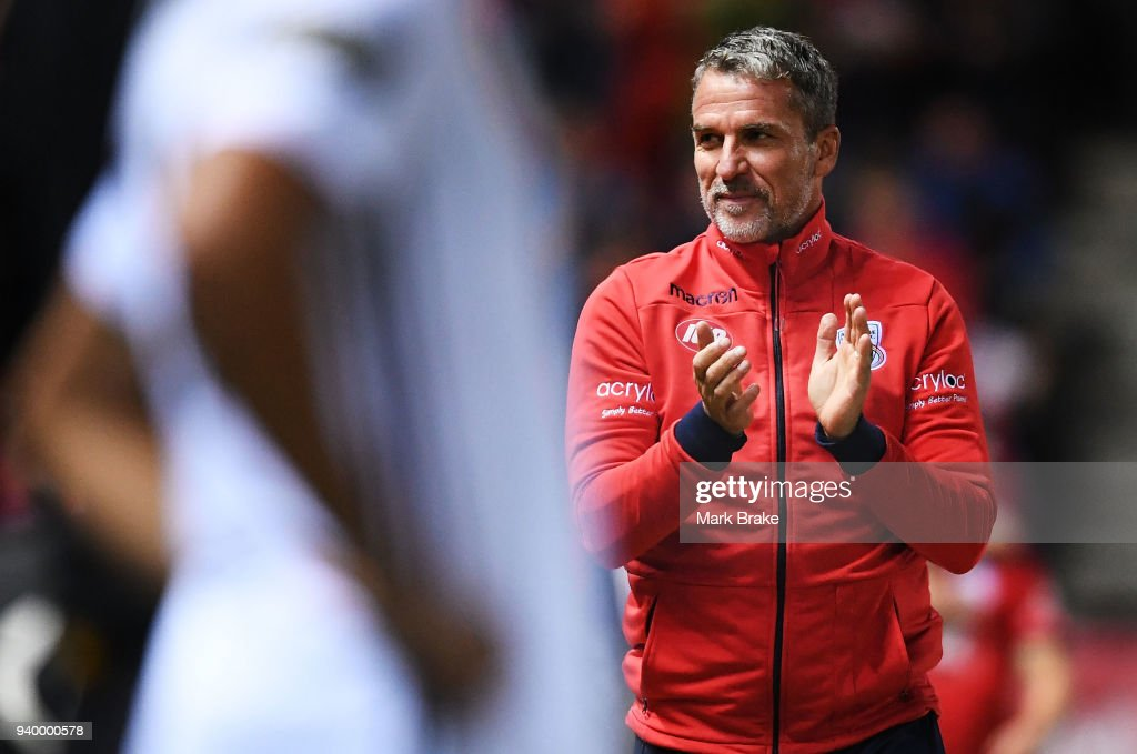 Marco Kurz coach of Adelaide United after Ben Garuccio of Adelaide United scores during the round 25 A-League match between Adelaide United and the Wellington Phoenix at Coopers Stadium on March 30, 2018 in Adelaide, Australia.