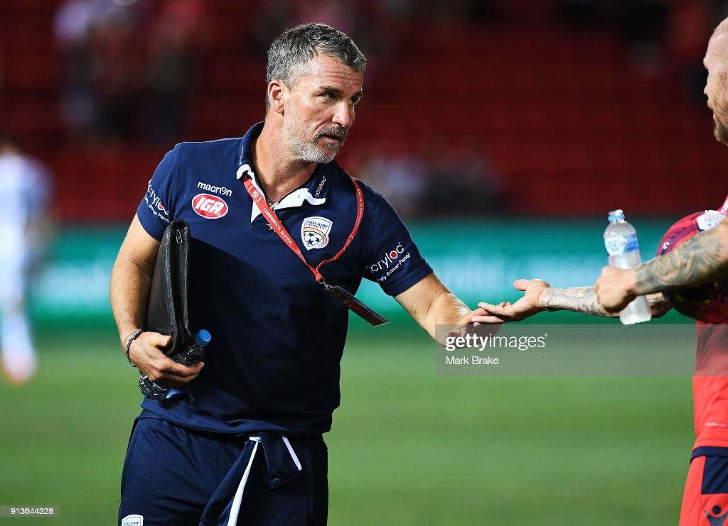 Marco Kurz coach of Adelaide United at the end of the match during the round 19 A-League match between Adelaide United and the Perth Glory at Coopers Stadium on February 3, 2018 in Adelaide, Australia.