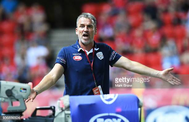 Marco Kurz coach of Adelaide United during the round 24 ALeague match between Adelaide United and the Newcastle Jets at Coopers Stadium on March 23...