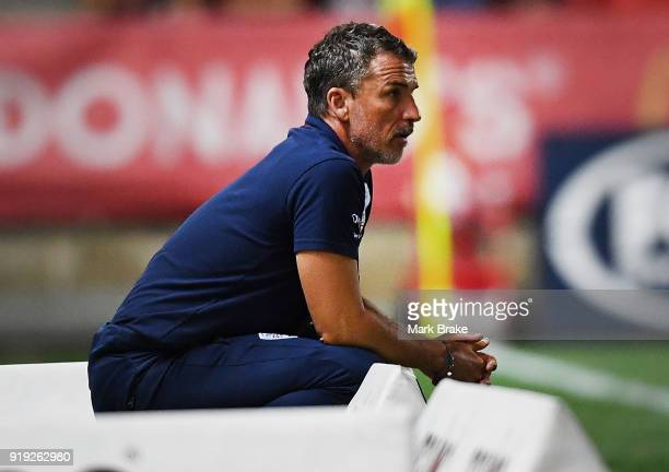 Marco Kurz coach of Adelaide United looks on during the round 20 ALeague match between Adelaide United and the Central Coast Mariners at Coopers...