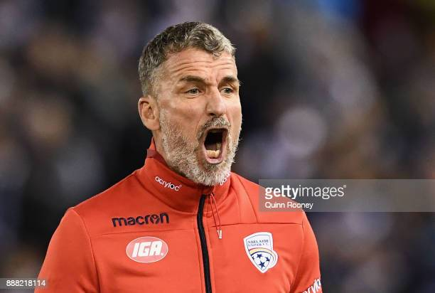 Marco Kurz the coach of Adelaide United reacts during the round 10 ALeague match between the Melbourne Victory and Adelaide United at Etihad Stadium...