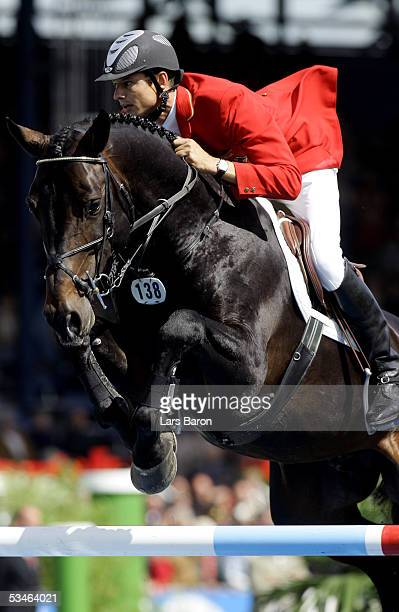 Marco Kutscher of Germany jumps on Montender during the CHIO Aachen 2005 Nation's Cup on August 26 2005 in Aachen Germany