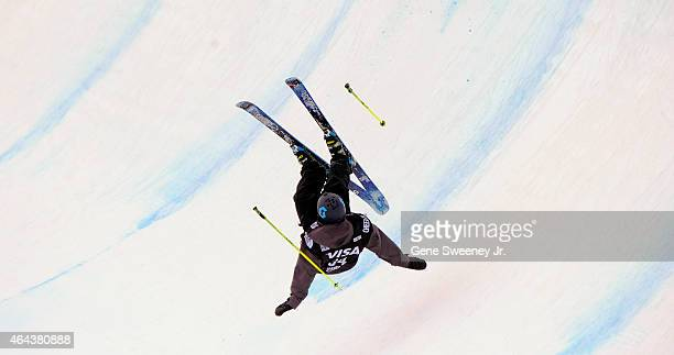 Marco Landner of Austria crashes during qualifying for the FIS Freeskiing World Cup 2015 Men's Freeskiing Halfpipe during the US Grand Prix at Park...