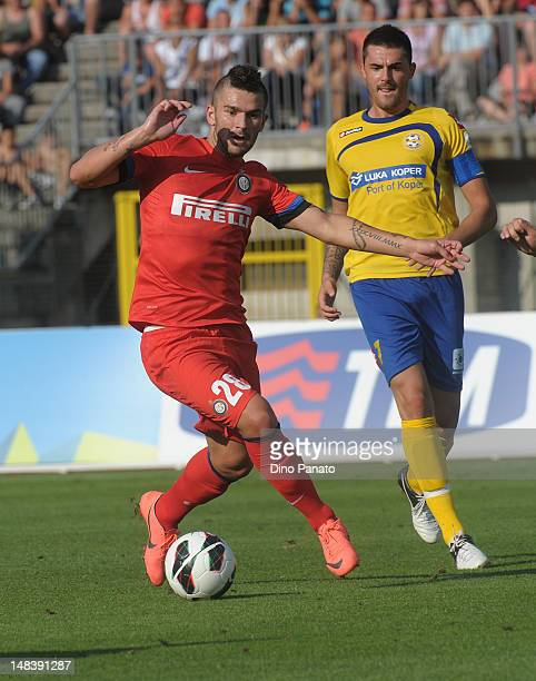 Marco Livaja of Internazionale Milano in action during a preseason friendly match between FC Internazionale Milano and Koper on July 15 2012 in...
