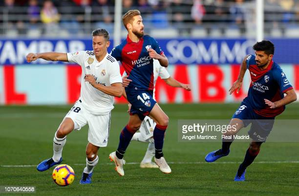 Marco Llorente of Real Madrid in action during the La Liga match between SD Huesca and Real Madrid CF at Estadio El Alcoraz on December 9 2018 in...