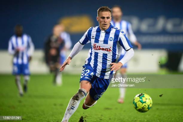 Marco Lund of OB Odense in action during the Danish 3F Superliga match between OB Odense and FC Midtjylland at Nature Energy Park on December 14,...