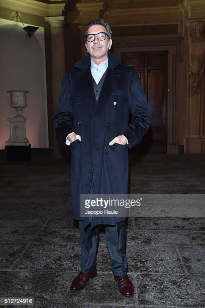 Marco Maccapani attends Vogue Cocktail Party honoring photographer Mario Testino on February 27 2016 in Milan Italy