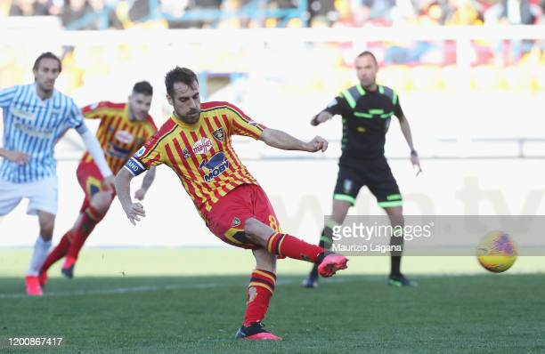 Marco Mancosu of Lecce scores his team's opening goal with penalty during the Serie A match between US Lecce and SPAL at Stadio Via del Mare on...