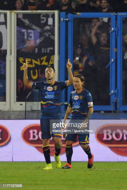 Marco Mancosu of US Lecce celebrates after scoring his team's third and his second personal goal during the Serie A match between SPAL and US Lecce...