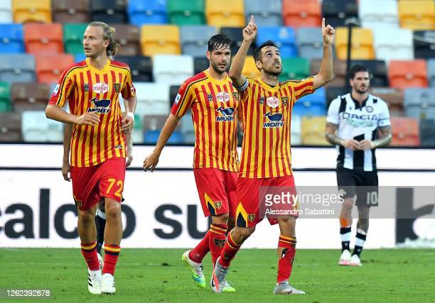 Marco Mancosu of US Lecce celebrates after scoring the 1-1 goal during the Serie A match between Udinese Calcio and US Lecce at Stadio Friuli on July...