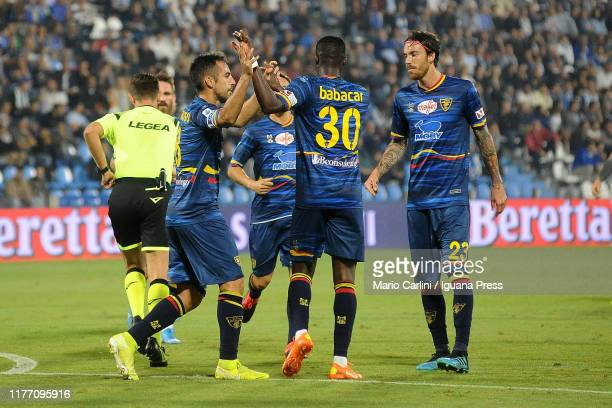 Marco Mancosu of US Lecce celebrates after scoring the opening goal from the penalty spot during the Serie A match between SPAL and US Lecce at...