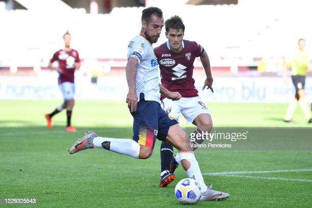 Marco Mancosu of US Lecce in action against Jacopo Segre of Torino FC during the Coppa Italia match between Torino FC and US Lecce at Stadio Olimpico...