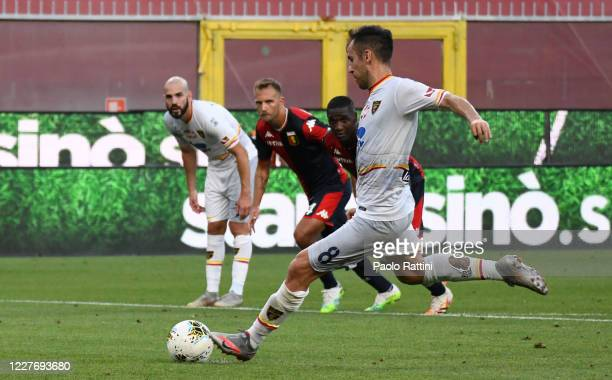 Marco Mancosu of US Lecce misses the penalty during the Serie A match between Genoa CFC and US Lecce at Stadio Luigi Ferraris on July 19, 2020 in...