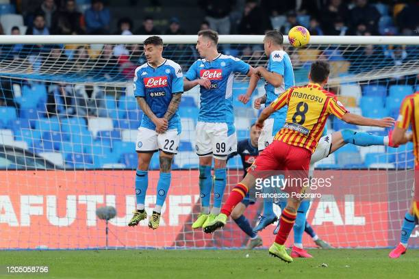 Marco Mancosu of US Lecce scores the 1-3 goal during the Serie A match between SSC Napoli and US Lecce at Stadio San Paolo on February 09, 2020 in...