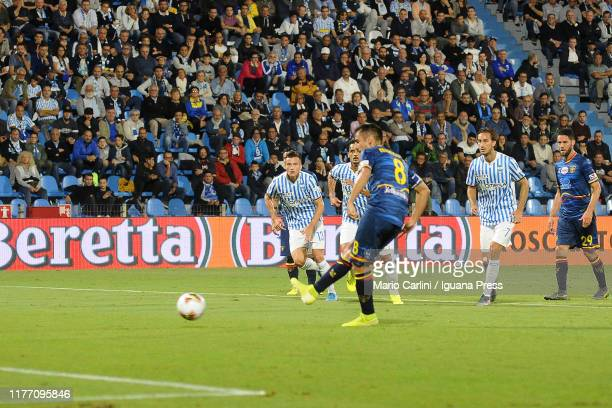 Marco Mancosu of US Lecce scores the opening goal from the penalty spot during the Serie A match between SPAL and US Lecce at Stadio Paolo Mazza on...