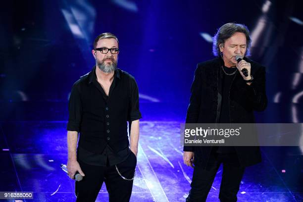 Marco Masini and Red Canzian attend the fourth night of the 68 Sanremo Music Festival on February 9 2018 in Sanremo Italy