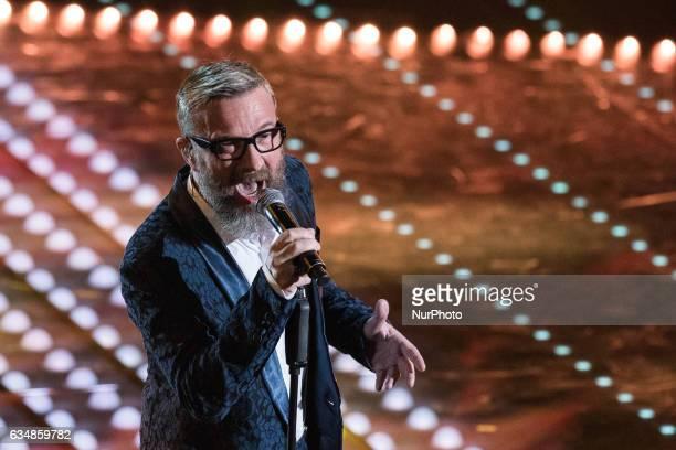 Marco Masini attends the closing night of 67th Sanremo Festival 2017 at Teatro Ariston on February 11 2017 in Sanremo Italy