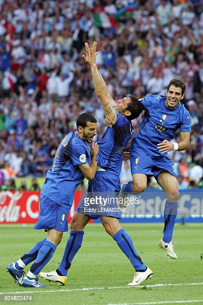 Marco Materazzi celebrates his equalizer goal during the final of the 2006 FIFA World Cup between Italy and France