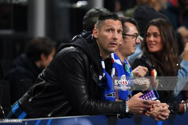 Marco Materazzi looks on prior to the Group B match of the UEFA Champions League between FC Internazionale and FC Barcelona at San Siro Stadium on...