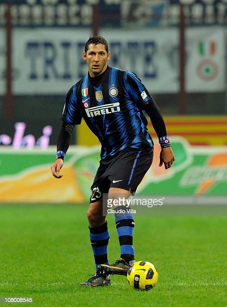 Marco Materazzi of FC Internazionale Milano during the Tim Cup match between Inter and Genoa at Stadio Giuseppe Meazza on January 12 2011 in Milan...
