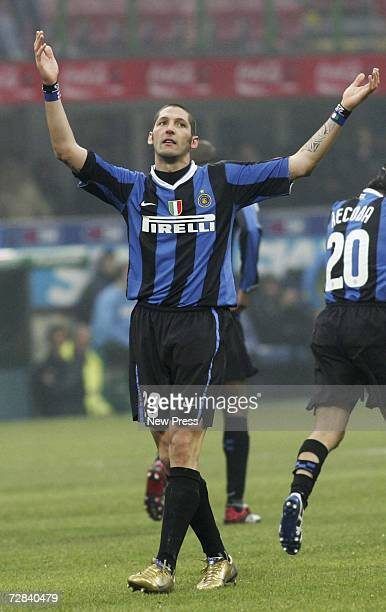 Marco Materazzi of Inter celebrates his goal during the Serie A match between Inter Milan and Messina at the Giuseppe Meazza Stadium on December 17,...