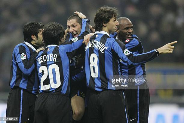 Marco Materazzi of Inter celebrates his goal with team mates during the Serie A match between Inter Milan and Messina at the Giuseppe Meazza Stadium...