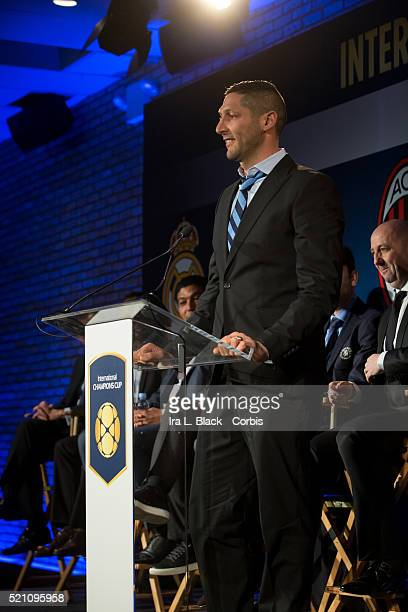 Marco Materazzi of Inter Milan addresses the crowd which including legends Mauro Tassotti of AC Milan Emilio Butragueno of Real Madrid Youri...