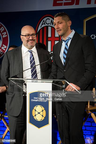 Marco Materazzi of Inter Milan and Charlie Stillitano Chairman of Relevent Sports address the crowd which including legends Mauro Tassotti of AC...