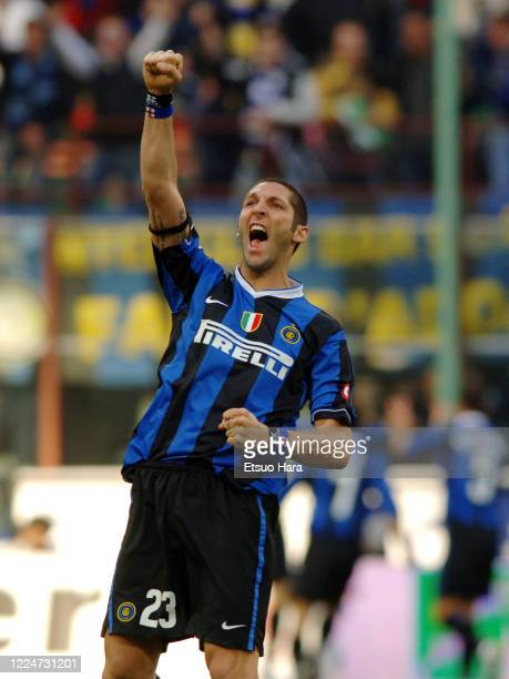 Marco Materazzi of Inter Milan celebrates during the Serie A match between Inter Milan and AC Milan at the Stadio Giuseppe Meazza on March 11, 2007...