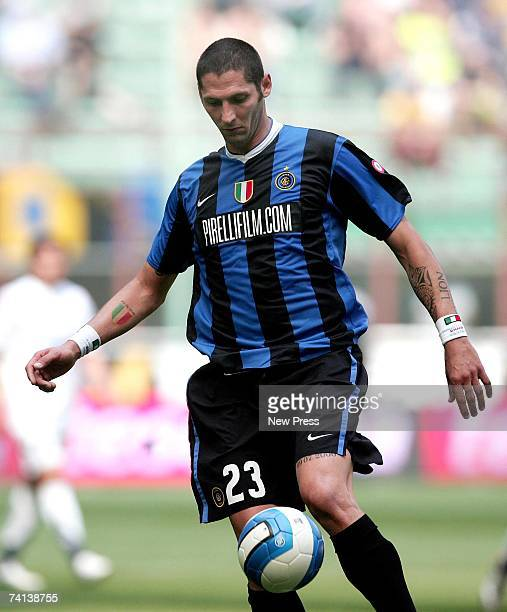 Marco Materazzi of Inter Milan in action during the Serie A match between Inter Milan and Lazio at the Stadio Giuseppe Meazza on May 12 2007 in Milan...