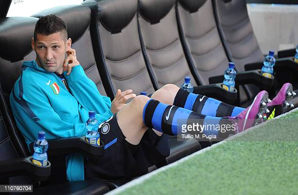 Marco Materazzi of Inter Milan looks on from the bench before the Serie A match between FC Internazionale Milano and Lecce at Stadio Giuseppe Meazza...