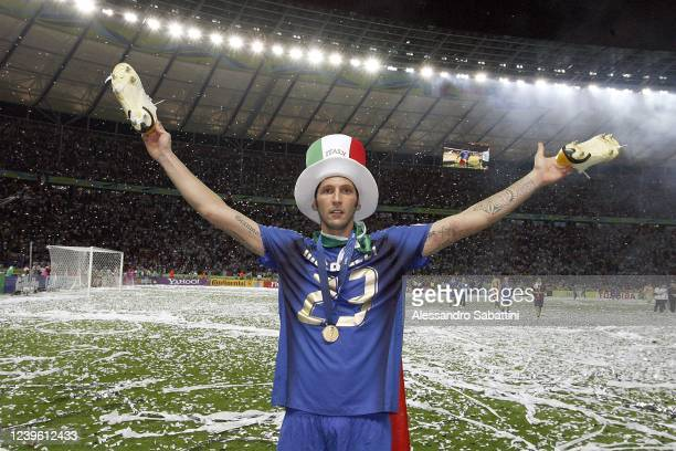 Marco Materazzi of Italy celebrates after the World Cup 2006 final football game Italy vsFrance 09 July 2006 at Berlin stadium Italy won the 2006...