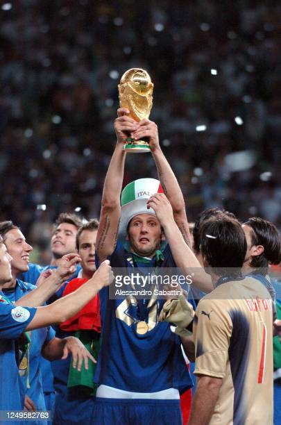 Marco Materazzi of Italy celebrates after the World Cup 2006 final football game Italy vs.France, 09 July 2006 at Berlin stadium. Italy won the 2006...