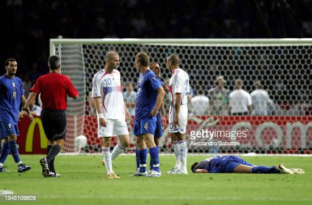 Marco Materazzi of Italy on the ground injured after receiving a head from Zinedine Zidane of France during the World Cup 2006 final football game...
