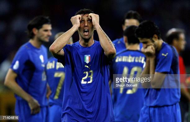 Marco Materazzi of Italy reacts following his team's victory during the FIFA World Cup Germany 2006 Final match between Italy and France at the...