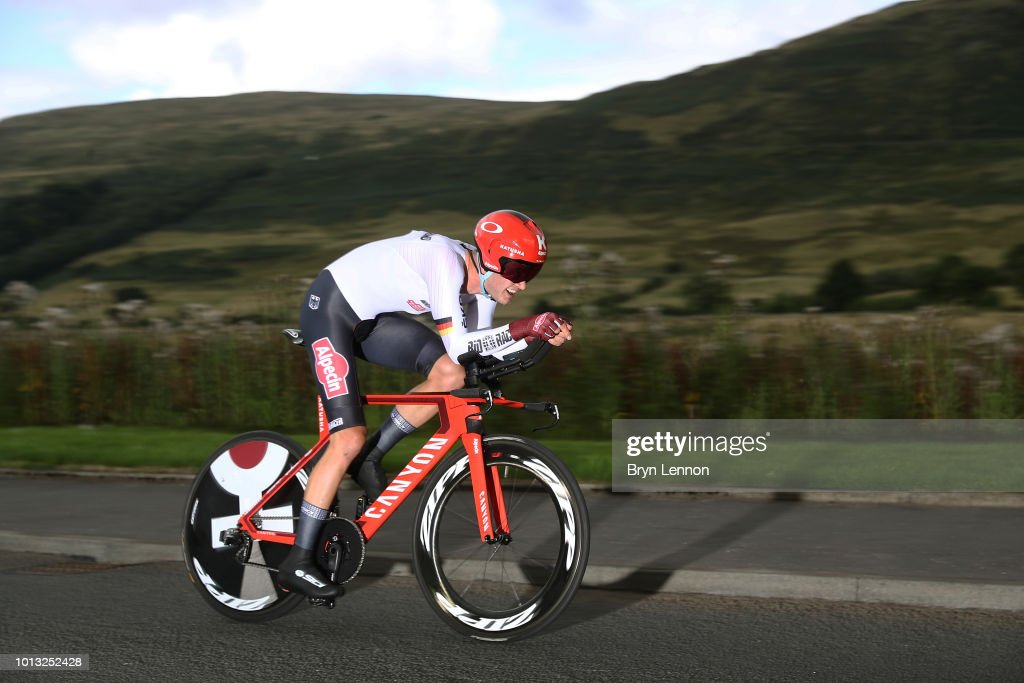 Marco Mathis of Germany in action in the Men's Road Cycling on Day Seven of the European Championships Glasgow 2018 at Glasgow Cycling TT Course on August 8, 2018 in Glasgow, Scotland. This event forms part of the first multi-sport European Championships.