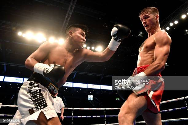 Marco McCullough v Arnold Solano during their SuperFeatherweight contest at SSE Arena Belfast on April 21 2018 in Belfast Northern Ireland