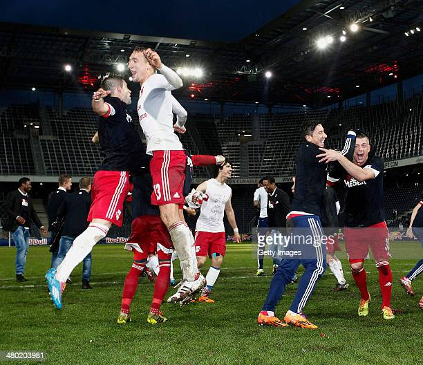 Marco Meilinger of Salzburg celebrates with his teammates after they won the tipp3 Bundesliga match between Red Bull Salzburg and SC Wiener Neustadt...