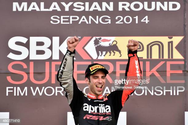 Marco Melandri celebrates during the second race of round six FIM Superbike World Championship at Sepang Circuit on June 8 2014 in Kuala Lumpur...
