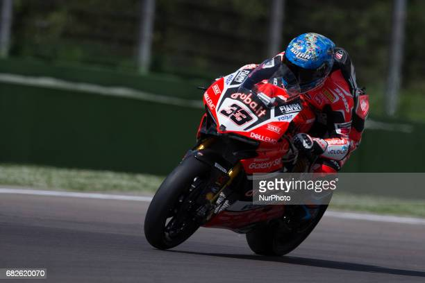 Marco Melandri of Arubait Racing Ducati mark the 5th time during the Superpole 2 of the Motul FIM Superbike Championship Italian Round at...