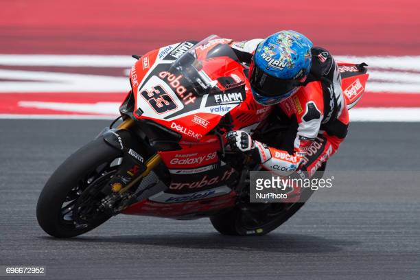 Marco Melandri of Arubait Racing Ducati mark the second time during the free practice 2 of the Motul FIM Superbike Championship Riviera di Rimini...