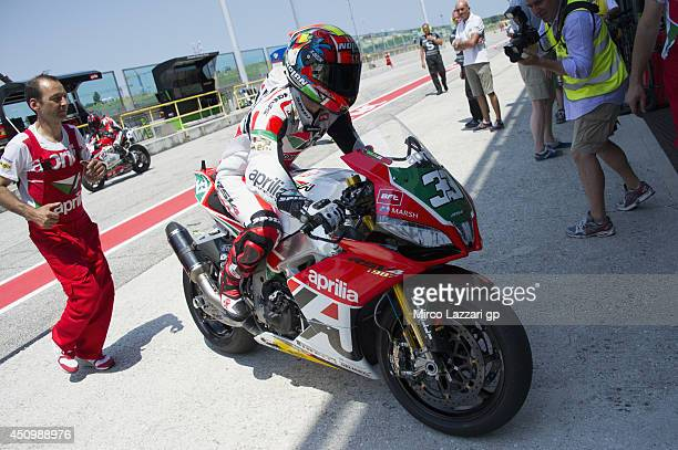 Marco Melandri of Italy and Aprilia Racing Team returns in box during the Super Pole during the FIM Superbike World Championship Qualifying at Misano...