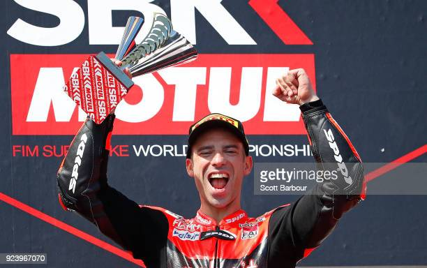 Marco Melandri of Italy and Arubait Racing Ducati celebrates on the podium after winning race 2 in the FIM Superbike World Championship during the...